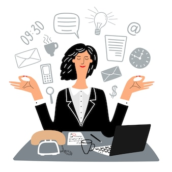 Secrétaire femme médite tranquillement en milieu de travail