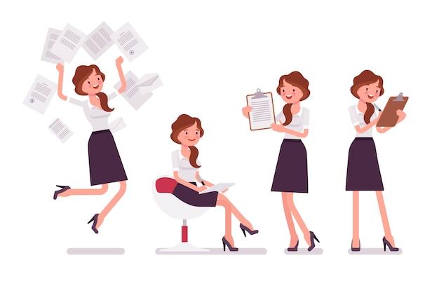 Secrétaire sexy occupée avec des documents