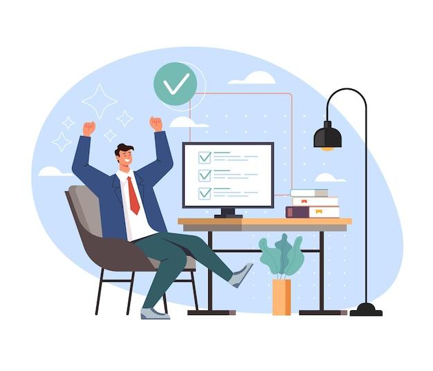 Secrétaire de travailleur de bureau homme d'affaires heureux fait le concept de tâche de travail de travail.