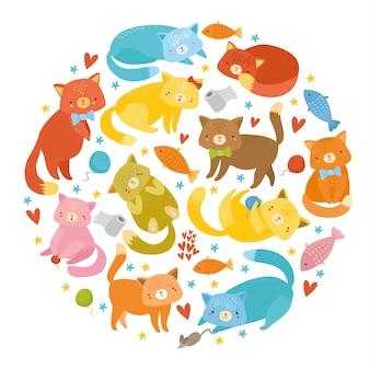 Secte de vecteur avec des chats