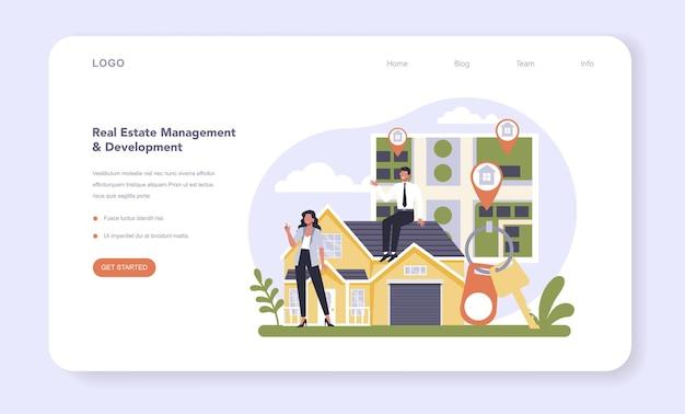 Secteur immobilier de l'économie bannière web ou page de destination
