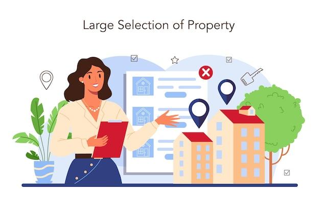 Secteur immobilier. idée de large choix de maison à vendre et à louer. assistance d'agent immobilier et aide en hypothèque immobilière. concept d'agent ou de courtier immobilier qualifié. illustration vectorielle