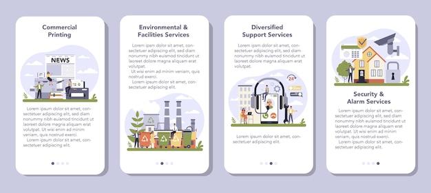 Secteur des services commerciaux et des fournitures de l'ensemble de bannières d'application mobile économie