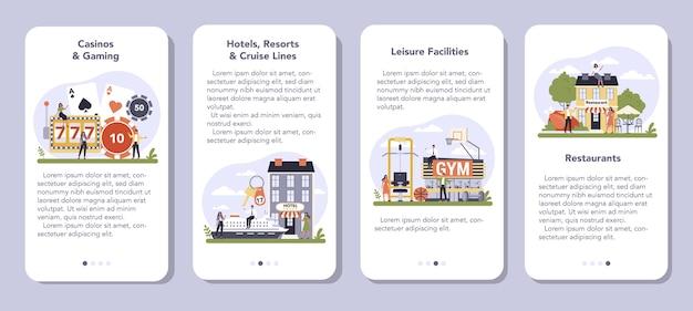 Secteur des services de loisirs de l'ensemble de bannière d'application mobile économie
