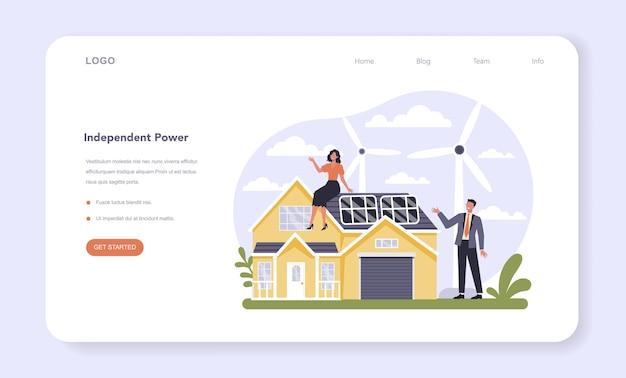 Secteur des services publics de l'économie bannière web ou page de destination énergie domestique