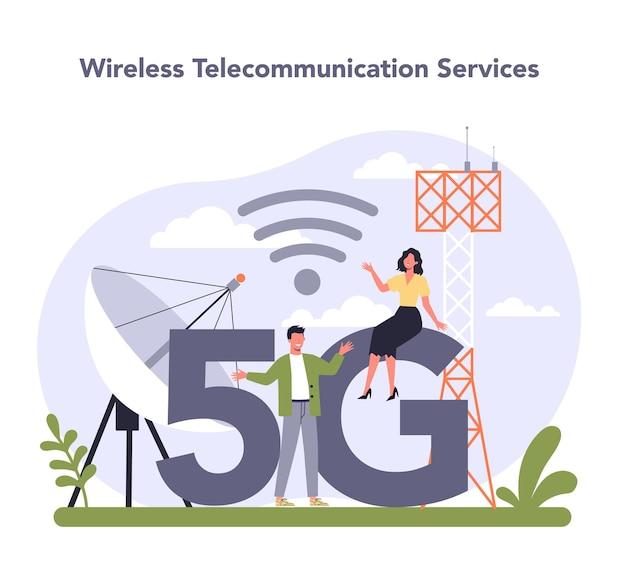 Secteur des services de télécommunication internet de l'économie. illustration vectorielle plane isolée