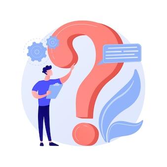 Section faq du site web. help desk utilisateur, support client, questions fréquemment posées. solution du problème, jeu de quiz personnage de dessin animé de l'homme confus.