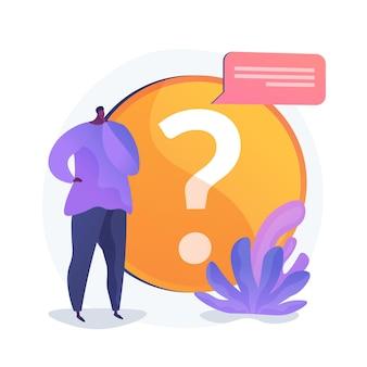 Section faq du site web. helpdesk utilisateurs, support client, questions fréquemment posées. solution du problème, jeu de quiz personnage de dessin animé de l'homme confus.