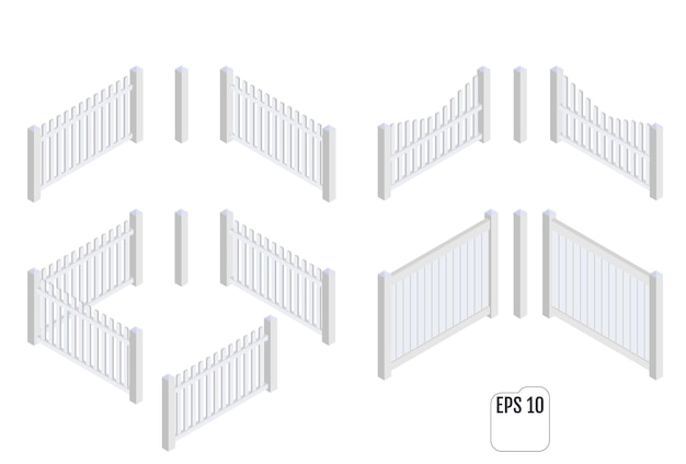 Sections de clôture blanche isométrique. constructeur d'escrime.