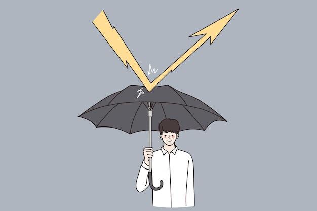 Sécurité des affaires, défense, concept de stratégie. personnage de dessin animé de jeune homme d'affaires debout avec un parapluie et se défendant contre les flèches de foudre frappant l'illustration vectorielle