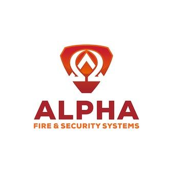 Sécurité alpha avec modèle de conception de logo de bouclier