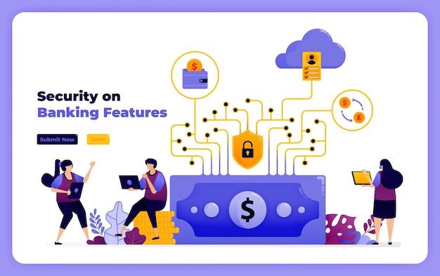 Sécurité dans les fonctionnalités du système financier et des services bancaires numériques.
