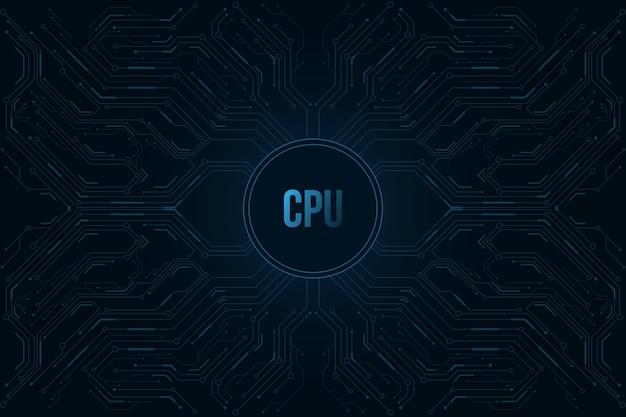 Sécurité Des Données Biométriques D'empreintes Digitales Futuristes. Processeur Big Data. élément Rond Hud Bleu Brillant. Vecteur Premium