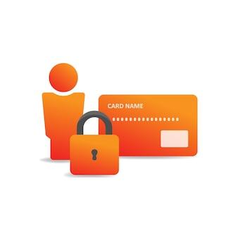 Sécurité des données personnelles. carte de crédit de l'utilisateur et serrure. symbole de sécurité financière. vecteur eps 10