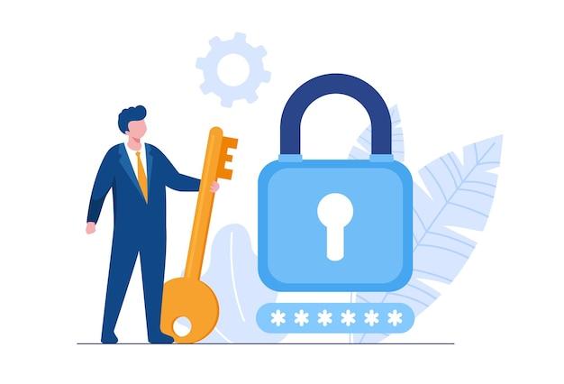 Sécurité des données personnelles, illustration du concept en ligne de sécurité des données cyber, sécurité internet ou confidentialité des informations. bannière d'illustration vectorielle plane et protection