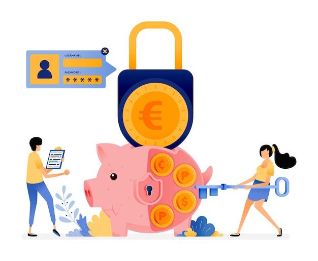 Sécurité en épargnant personnellement. protection de la finance et du système bancaire