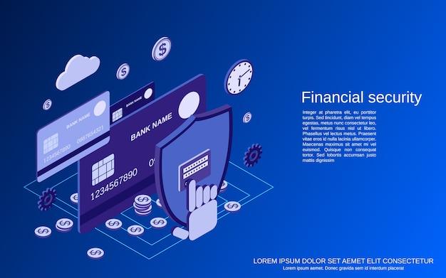 Sécurité financière, services bancaires en ligne, concept isométrique de protection de l'argent