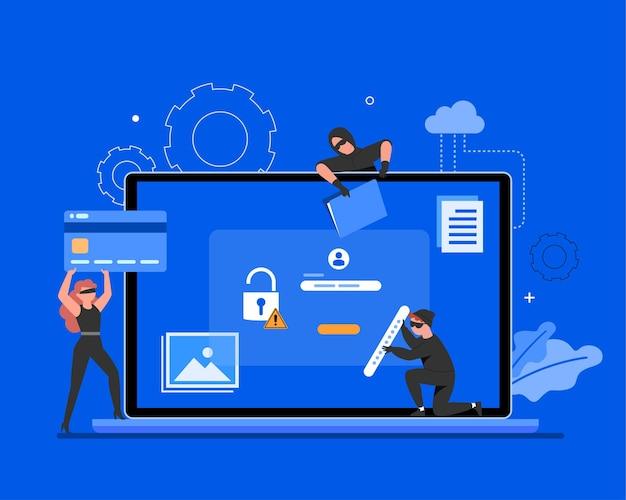 Sécurité globale des données, sécurité des données personnelles, illustration de concept en ligne de sécurité des données cybernétiques, sécurité internet ou confidentialité et protection des informations.