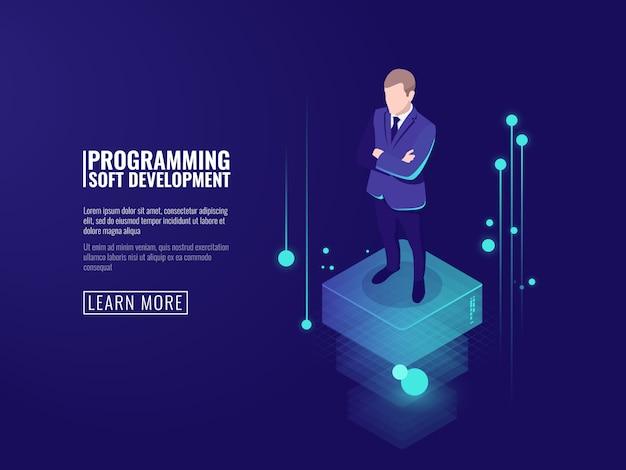 Sécurité de l'information, un homme en costume, un flux de données