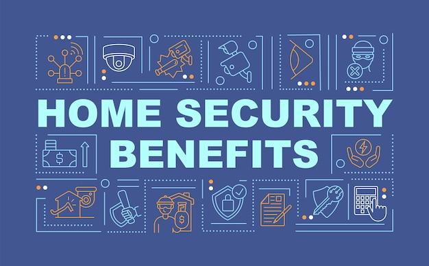 La sécurité de la propriété profite à la bannière de concepts de mot. protégez la maison et la famille. infographie avec des icônes linéaires sur fond bleu. typographie créative isolée. illustration de couleur de contour vectoriel avec texte