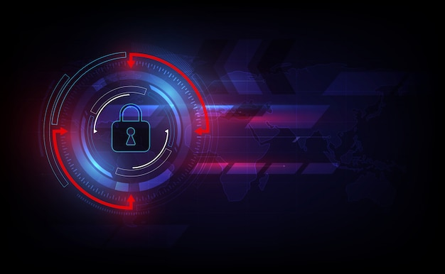 Sécurité de la technologie abstraite sur fond de réseau mondial.