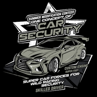 Sécurité de la voiture, illustration vectorielle de voiture