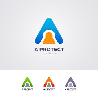 Security a letter logo design