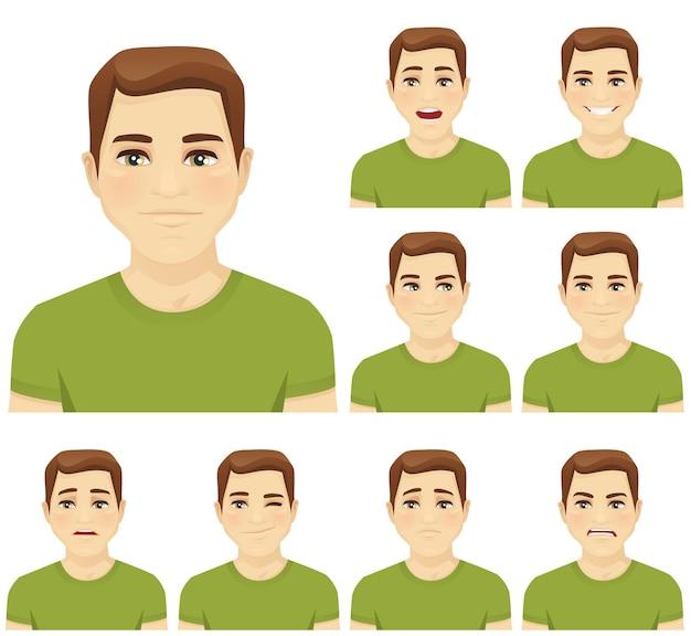 Séduisante jeune homme avec différentes expressions faciales définies isolé
