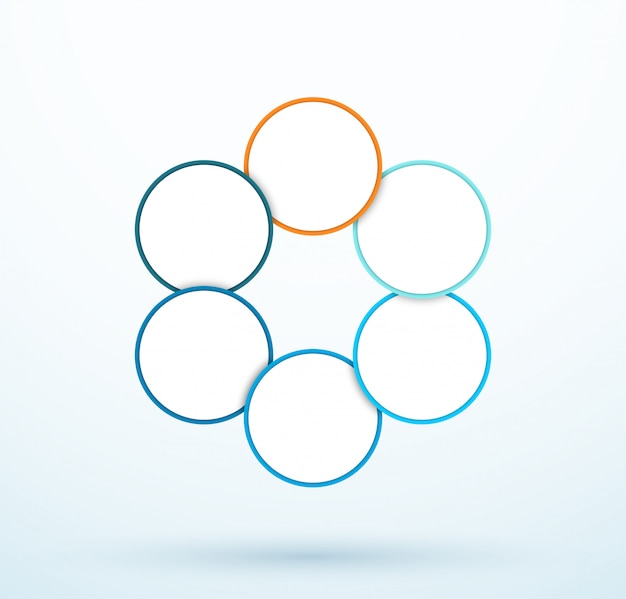 Segments liés infographie six cercle diagramme