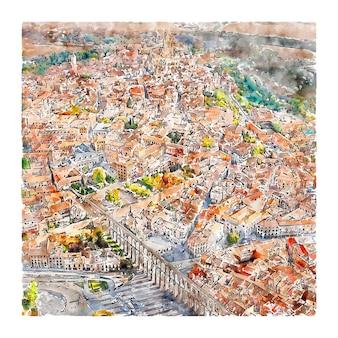 Ségovie espagne illustration aquarelle croquis dessinés à la main
