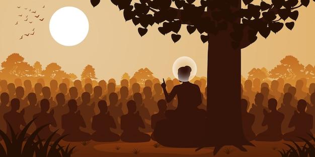 Seigneur du bouddha sermon dharma devant foule de moine
