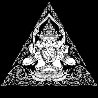 Seigneur ganesha sur fond noir