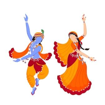 Seigneur krishna et radha rani personnages de danse vecteur premium