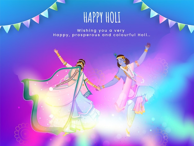 Seigneur de la mythologie hindoue krishna et radha exécutant la danse sur fond dégradé flou