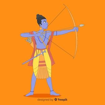Seigneur rama avec flèche et arc