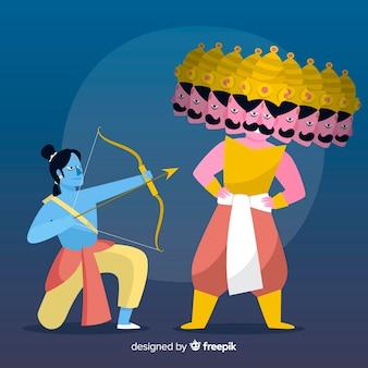 Seigneur rama et fond de personnage de ravana