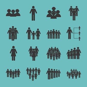 Seize icônes de silhouettes de population