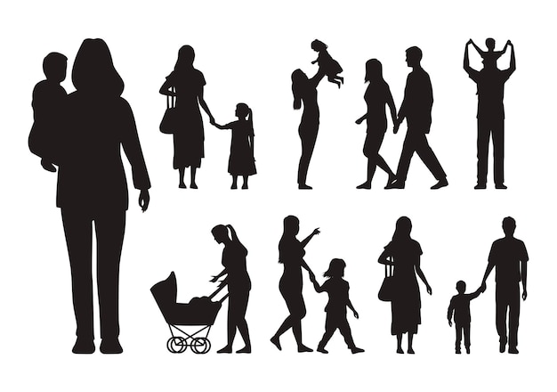 Seize silhouettes familiales