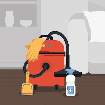 Séjour avec aspirateur et kit de nettoyage