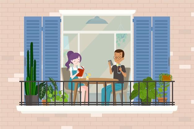 Séjour au balcon de la maison