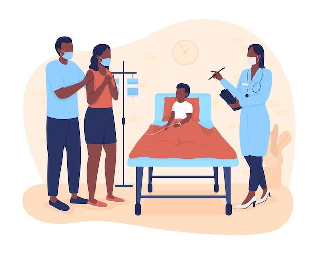 Séjour à l'hôpital pour enfant illustration vectorielle 2d isolée. parents écoutant le médecin sur les personnages plats du plan de traitement du fils sur fond de dessin animé. scène colorée d'hospitalisation d'enfant