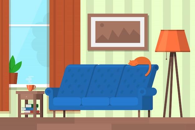 Séjour avec mobilier. modèle de fond, affiche, bannière illustration de style plat.