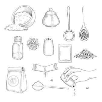 Sel tiré. manger des ingrédients naturels pour préparer des aliments sel de cristal de mer dans des illustrations vectorielles de paquets. paquet d'ingrédients minéraux, différents sels naturels pour manger et préparer