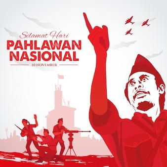 Selamat hari pahlawan nasal. traduction: bonne journée nationale des héros indonésiens. illustration pour carte de voeux