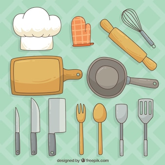 Sélection d'articles de cuisine dessinés à la main