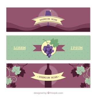 Sélection des bannières de vin avec différents éléments