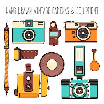 Sélection des caméras dessinés à la main vintage