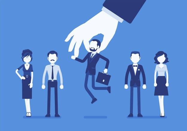 Sélection Des Candidats Parmi Un Groupe D'employés Vecteur Premium