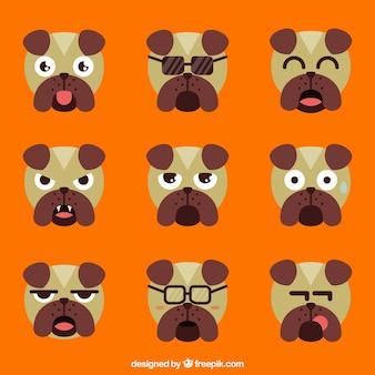 Sélection de chien emojis en design plat