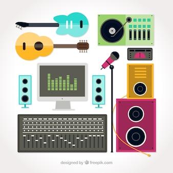 Sélection d'éléments plats pour un studio de musique